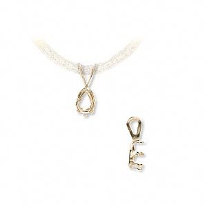 pendant, snap-tite, 14kt gold, 6x4mm 6-prong pear setting sold individually.