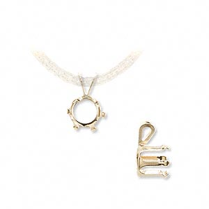 pendant, snap-tite, 14kt gold, 8mm with 6-prong round setting. sold individually.