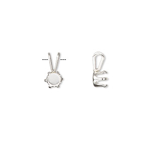 pendant, snap-tite, sterling silver, 5mm with 6-prong round setting. sold per pkg of 2.