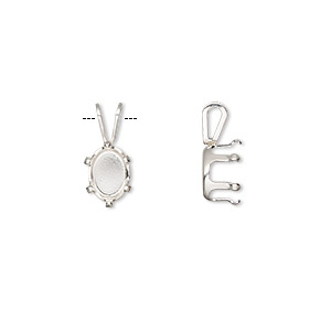 pendant, snap-tite, sterling silver, 8x6mm 6-prong oval setting. sold per pkg of 2.