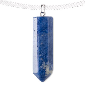pendant, sodalite (natural) and silver-plated pewter (zinc-based alloy), 43x12mm point. sold individually.