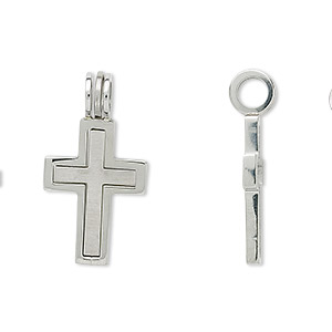 pendant, stainless steel, 20x14mm interlocking open cross and 16.5x11mm cross. sold per 2-piece set.