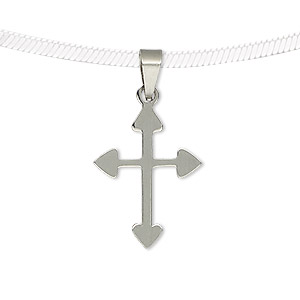 pendant, stainless steel, 22x17mm two-sided matte and shiny cross. sold individually.