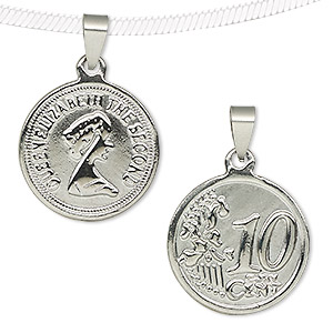 pendant, stainless steel, 26mm two-sided shiny coin with queen elizabeth the second and 10 cent. sold individually.