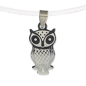 pendant, stainless steel, 26x15mm two-sided matte and shiny etched owl. sold individually.