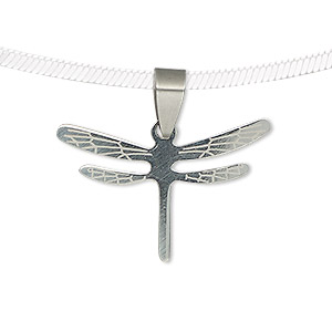 pendant, stainless steel, 30.5x21mm two-sided matte and shiny etched dragonfly. sold individually.