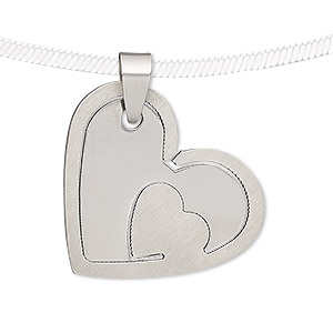 pendant, stainless steel, 32x28mm matte and shiny heart with cutout heart. sold individually.