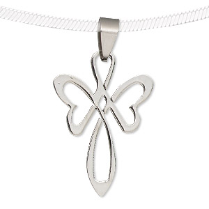 pendant, stainless steel, 33x22mm flower cross. sold individually.