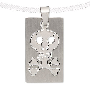 pendant, stainless steel, 34x20mm matte and shiny rectangle with cutout skull. sold individually.