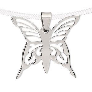pendant, stainless steel, 35x32mm butterfly. sold individually.