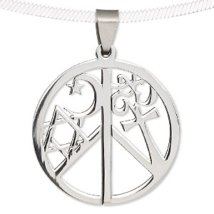 pendant, stainless steel, 36mm round coexist. sold individually.