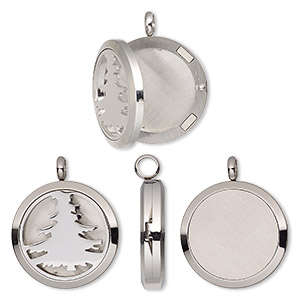 pendant, stainless steel, 37x30mm hinged round locket with single-sided cutout tree and magnetic closure. sold individually.