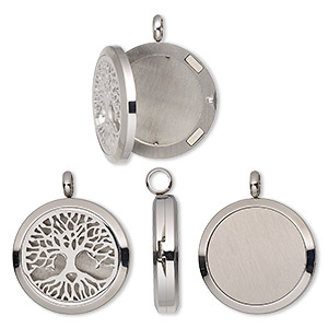 pendant, stainless steel, 37x30mm hinged round locket with single-sided cutout tree of life and magnetic closure. sold individually.