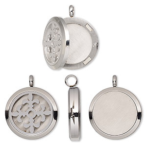pendant, stainless steel, 37x30mm hinged round locket with single-sided cutout fleur-de-lis and magnetic closure. sold individually.
