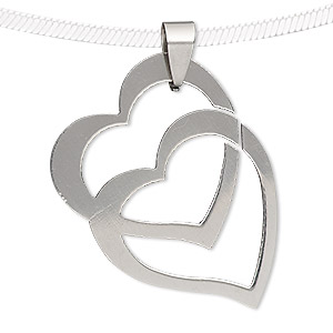 pendant, stainless steel, 38x28mm double heart. sold individually.