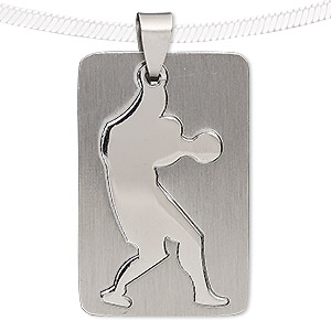 pendant, stainless steel, 39x25mm matte and shiny rectangle with cutout basketball player. sold individually.