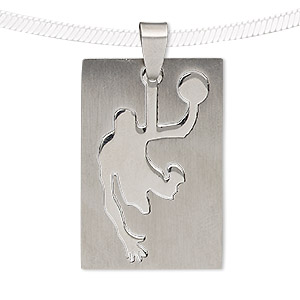 pendant, stainless steel, 39x26mm matte and shiny rectangle with cutout basketball player. sold individually.