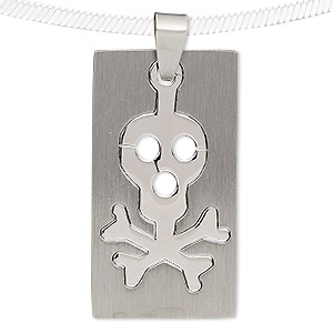 pendant, stainless steel, 42x23mm matte and shiny rectangle with cutout skull. sold individually.