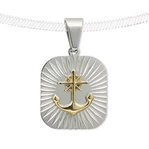 pendant, stainless steel and gold-finished stainless steel, 25x20mm rectangle with anchor. sold individually.