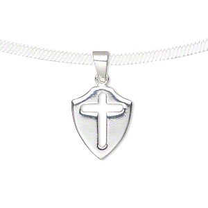 pendant, sterling silver, 15.5x13mm shield with cross cutout. sold individually.