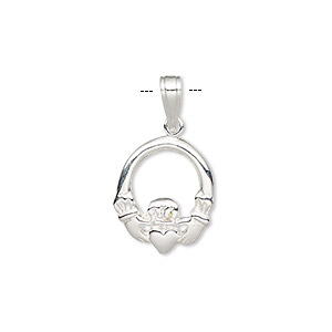 pendant, sterling silver, 15x13mm single-sided claddagh. sold individually.