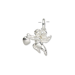 pendant, sterling silver, 16x16mm single-sided angel with wings holding cross and heart. sold individually.