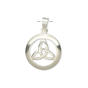 pendant, sterling silver, 18mm flat round with celtic knot design. sold individually.