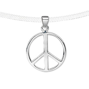 pendant, sterling silver, 20x20mm peace sign. sold individually.