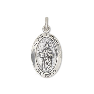 pendant, sterling silver, 22x15mm oval with st. jude. sold individually.