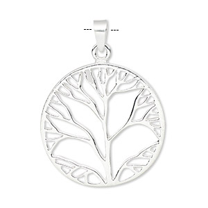 pendant, sterling silver, 26mm flat round with tree design. sold individually.