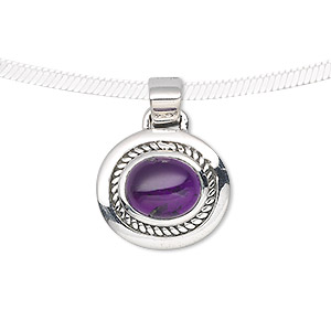 pendant, sterling silver and amethyst (natural), 11x8mm oval, 25x19mm. sold individually.