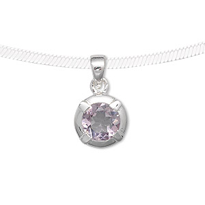 pendant, sterling silver and amethyst (natural), 9mm round, 21x12mm. sold individually.
