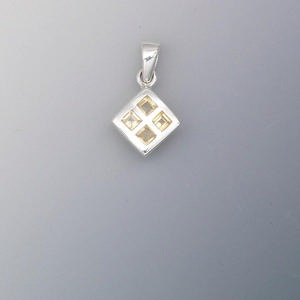 pendant, sterling silver and citrine (dyed), 3x3mm faceted diamond, 13x12mm diamond. sold individually.