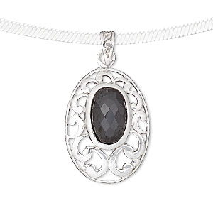 pendant, sterling silver and cubic zirconia, black, 33x18mm oval with cutout design. sold individually.