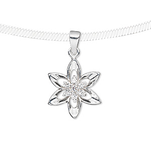 pendant, sterling silver and cubic zirconia, clear, 17x17mm flower. sold individually.