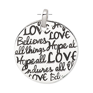 pendant, sterling silver and enamel, black, 30mm round with love believes all things and hope endures all things. sold individually.