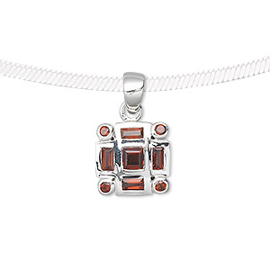 pendant, sterling silver and garnet (natural), 4mm faceted square, 2mm faceted round, 4x2mm faceted rectangle, 13x13mm square. sold individually.