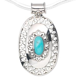 pendant, sterling silver and turquoise (stabilized), 12x6mm oval, 45x25mm. sold individually.