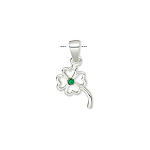pendant, sterling silver with rhinestone, green, 16x9mm open 4-leaf clover. sold individually.