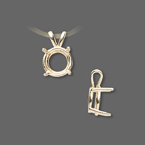 pendant, sure-set™, 14kt gold, 10mm with 4-prong round setting. sold individually.