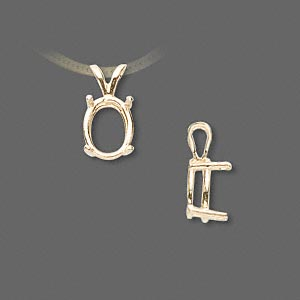 pendant, sure-set™, 14kt gold, 10x8mm with 4-prong oval basket setting. sold individually.
