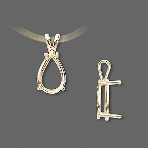 pendant, sure-set™, 14kt gold, 12x8mm with 4-prong pear setting. sold individually.