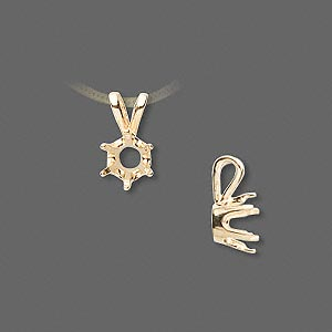 pendant, sure-set™, 14kt gold, 6.5mm with 6-prong round setting. sold individually.