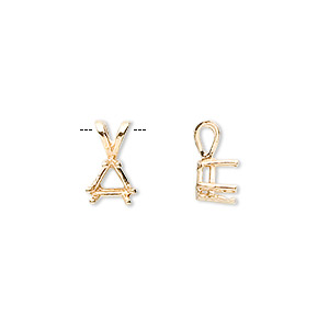 pendant, sure-set™, 14kt gold, 6x6x6mm with 6-prong triangle setting. sold individually.