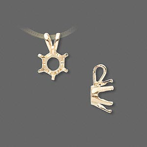 pendant, sure-set™, 14kt gold, 8mm with 6-prong round setting. sold individually.