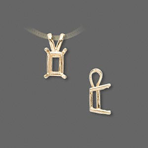 pendant, sure-set™, 14kt gold, 8x6mm with 4-prong emerald-cut basket setting. sold individually.