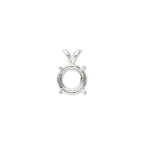 pendant, sure-set™, sterling silver, 10mm 4-prong round basket setting. sold individually.