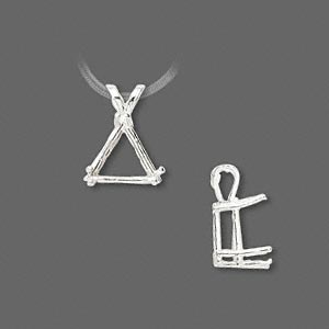 pendant, sure-set™, sterling silver, 10x10x10mm with 6-prong triangle basket setting. sold individually.