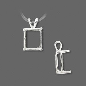 pendant, sure-set™, sterling silver, 12x10mm with 4-prong emerald-cut basket setting. sold individually.