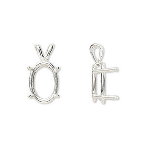 pendant, sure-set™, sterling silver, 14x10mm with 4-prong oval basket setting. sold individually.